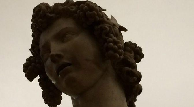 フィレンツェ、3日目、パルジェロ国立美術館、ミケランジェロ、《バッカス》、バッカスの顔