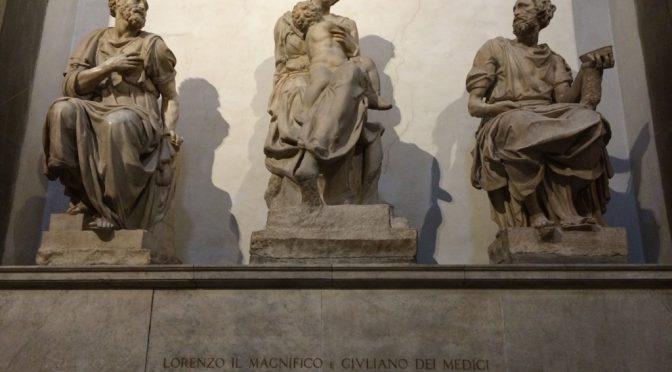 フィレンツェ、3日目、メディチ家礼拝堂美術館、新聖具室、ミケランジェロの聖母子