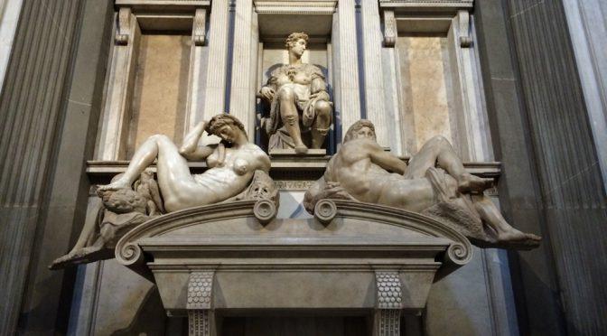 フィレンツェ、3日目、メディチ家礼拝堂美術館、新聖具室、ミケランジェロ、ヌムール公の墓碑