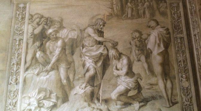 フィレンツェ、4日目、スカルツォ修道会修道院回廊、《洗礼者ヨハネの生涯》より《キリストの洗礼》