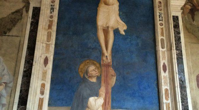 フィレンツェ、5日目、サン・マルコ美術館、フラ・アンジェリコ、《磔刑のキリストを礼拝する聖ドミニコ》