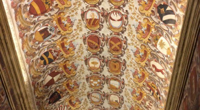 ボローニャ、1日目、アルキジンナージオ宮、天井