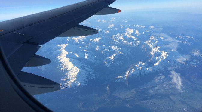 ボローニャ、1日目、ボローニャへ向かう機内より