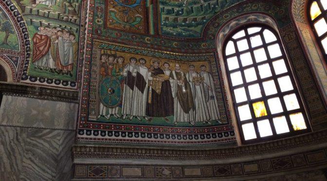 ボローニャ、3日目、ラヴェンナ、サン・ヴィターレ聖堂、《ユスティニアヌス帝と侍者たち》