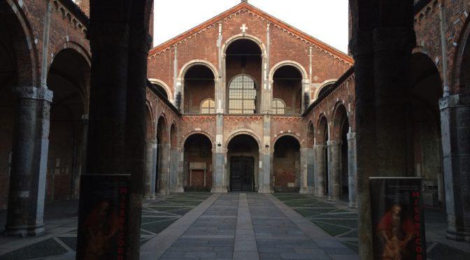 ボローニャ、6日目、ミラノ、サンタンブロージョ聖堂、アトリウム(前庭)