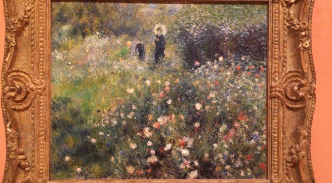 マドリード、4日目、ティッセン・ボルネミッサ美術館、ルノワール 、《庭で日傘をさす女性》